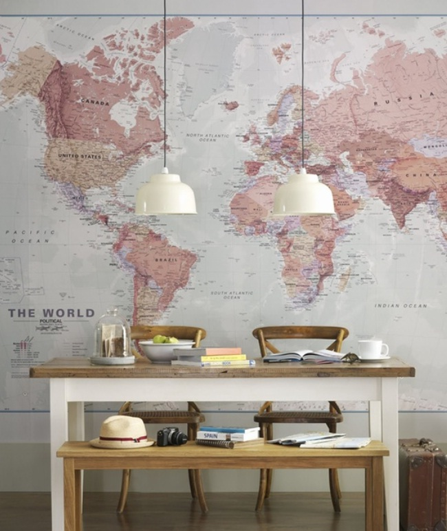 17 cool ideas for world map wall art live diy ideas 17 cool ideas for world map wall art gumiabroncs Gallery