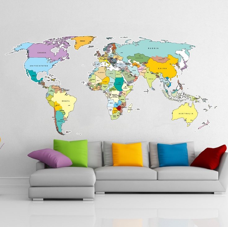 17 cool ideas for world map wall art live diy ideas gumiabroncs Images