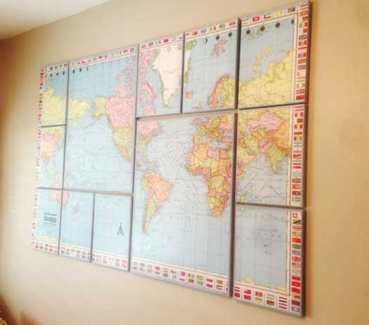 17 cool ideas for world map wall art live diy ideas 17 cool ideas for world map wall art gumiabroncs Choice Image