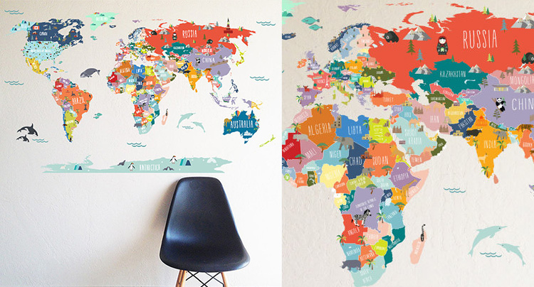 World map wall decal1024x1024 live diy ideas 17 cool ideas for world map wall art gumiabroncs Images
